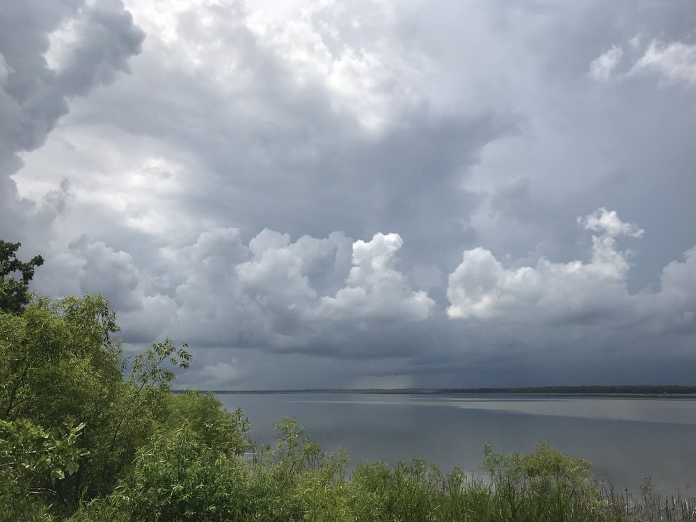 Thunderstorms and reflections across Chautauqua Lake
