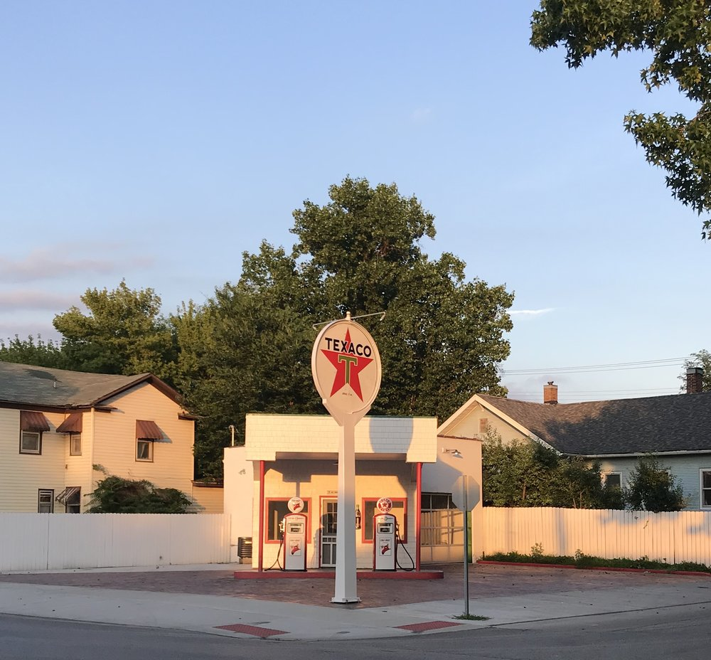 A charming gas station being restored in Beardstown, Illinois.