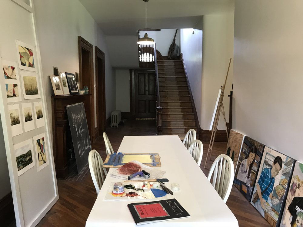 We displayed work in the dining room and showed tools and materials during the Sunday open house.