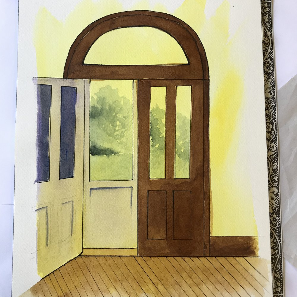 """On my last full day, I made this watercolor and ink piece, """"Doors to the River Porch, Farwell House"""". Rachel and I spent most mornings and some full days painting on the porch while listening to birds and watching for the fawn and doe to come out of the timber onto the lawn."""