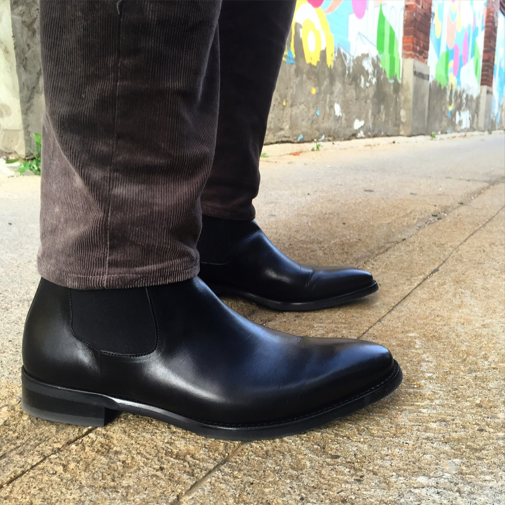 The Chelsea boot is an intimidating boot for most people. Yes it looks very fancy but as long as your pants or jeans are tailored and not billowy then you should be able to pull it off. This dapper pair is from Jack Erwin (www.jackerwin.com) and features a thin rubber sole to keep you dry.
