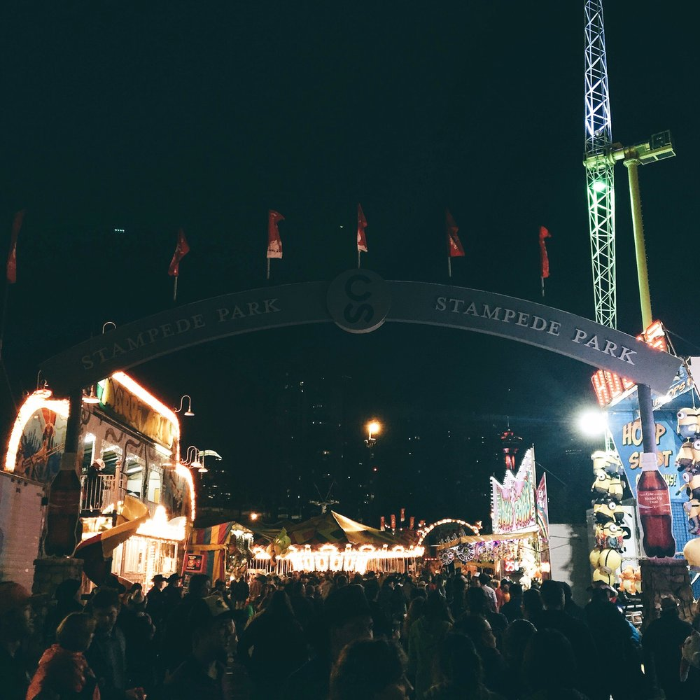 The midway at night.