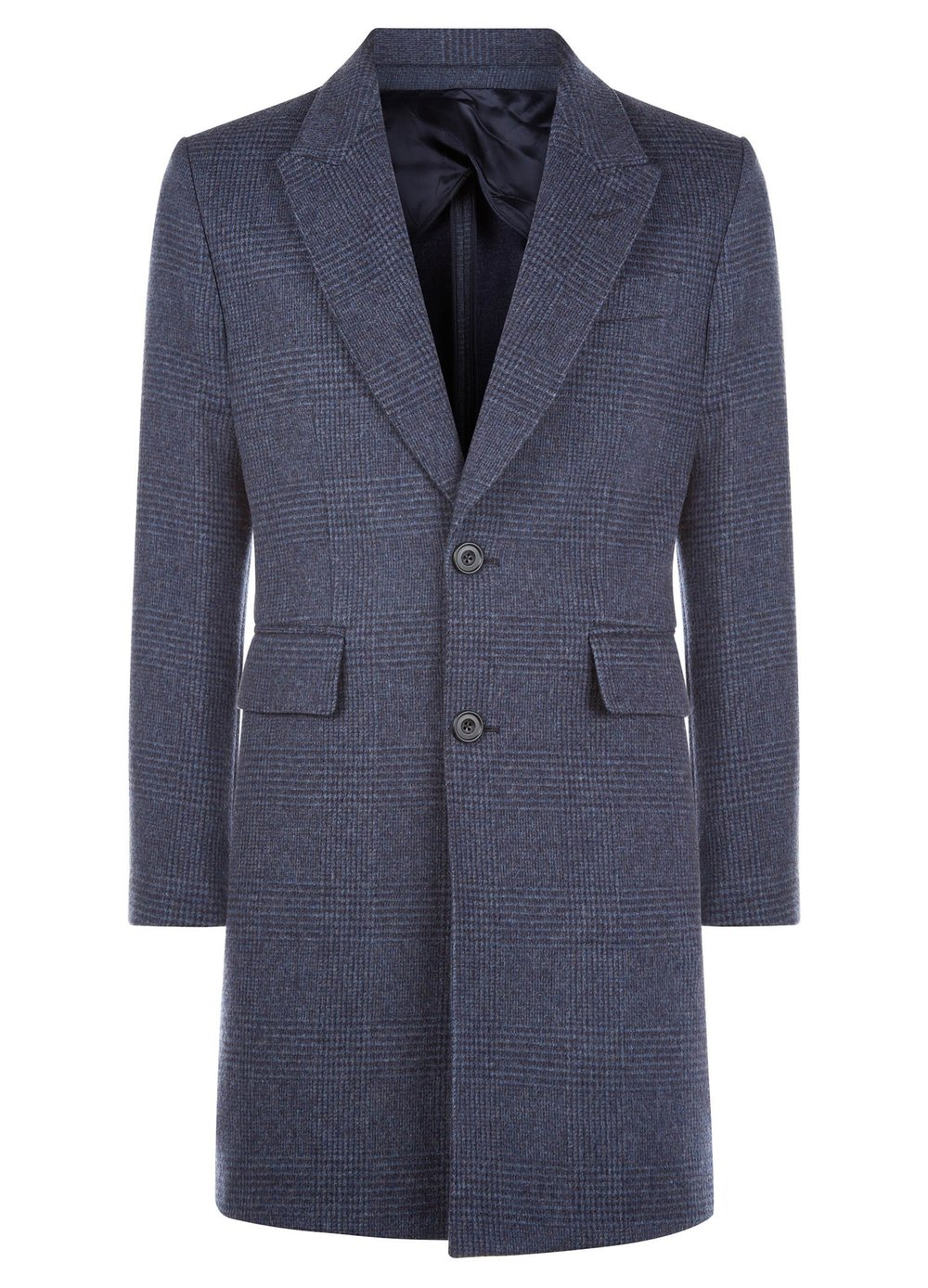 Navy Wool Check Overcoat