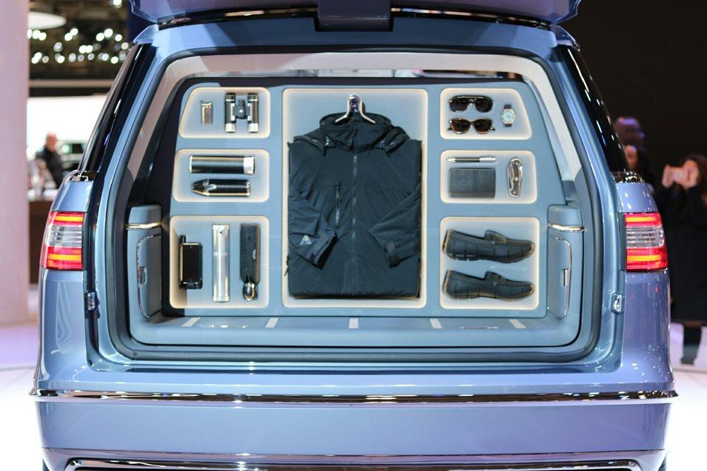 Wardrobe in the Lincoln Navigator Trunk!