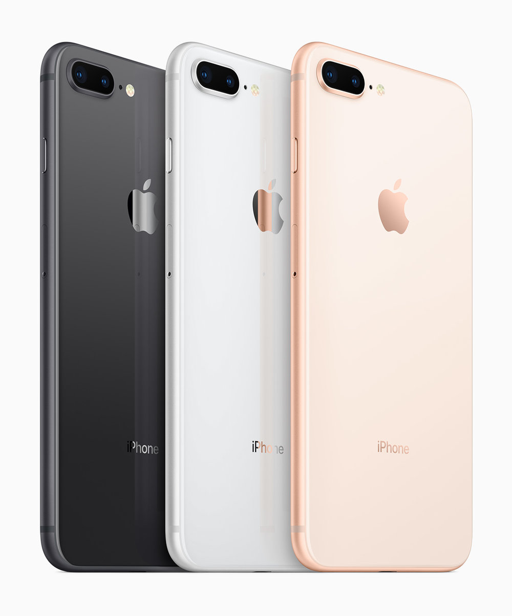 Space Grey, Silver and Gold iPhone 8 Plus