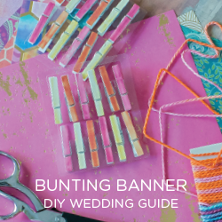 See our DIY GUIDE to making your own no glue, no sew Bunting Banner!