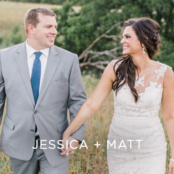 Be a guest at Jessica and Matt's red barn wedding. See all the fun touches their vendors added.