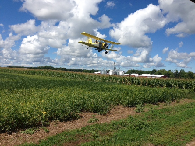 Grandson and business partner, Jesse Farwell aerial broadcasts cover crop seed on Hu-Lane's, as well as other area farmers fields. This method is much in the experimentation phase.