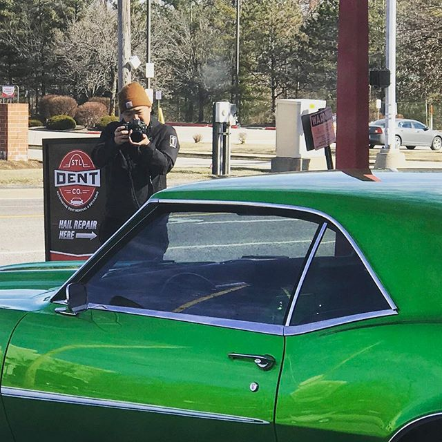 Look who stopped by the shop today...BIG thanks to David Mullis for capturing a bit of history at Trogs Service Station on Route 66! Stay tuned to see what he captured... #stldentco #davidmullis #route66 #kirkwood #pdr #dentrepair #stlcars #classiccars