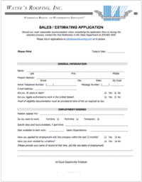 Sales / Estimator PDF Application