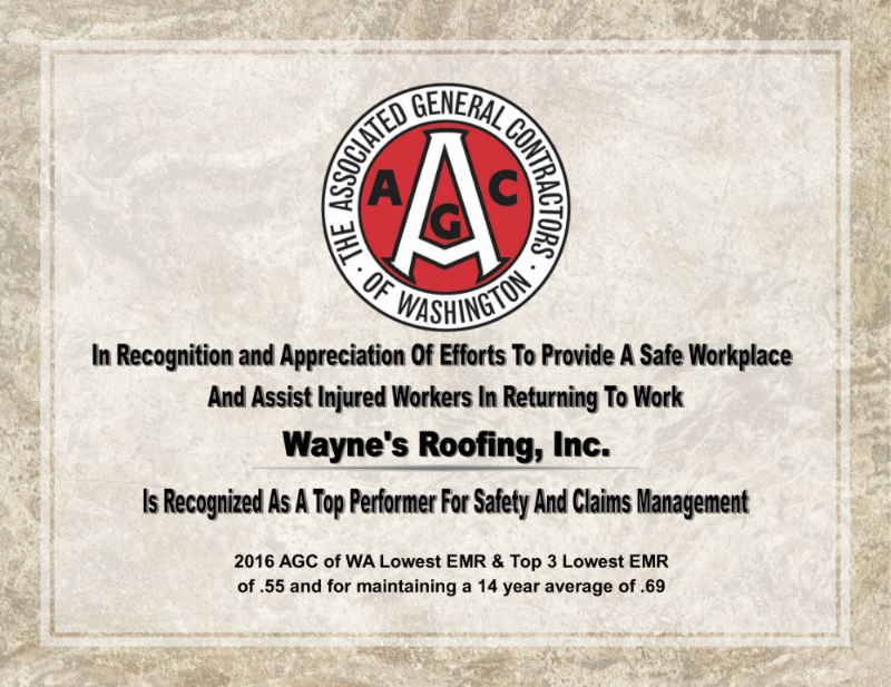 Wayneu0027s Roofing, Inc. Receives Safety Award From AGC Of Washington For 2016