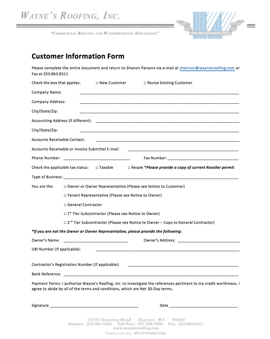 Download New Customer Information Form Here  Customer Contact Information Form