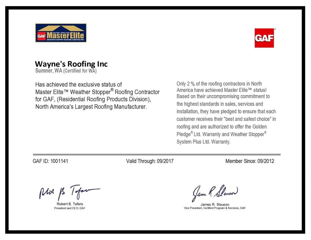 Master Elite Certificate Awarded To Wayneu0027s Roofing, Inc.: