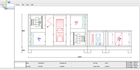 AHU Selection Software  - 2D selection screen