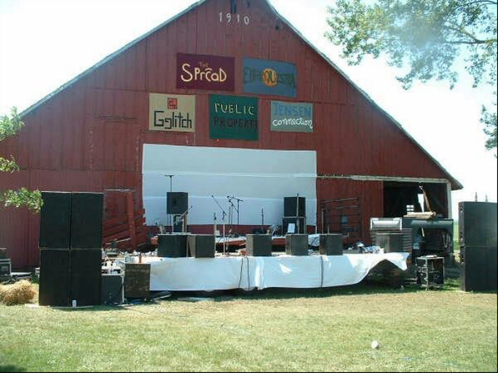 Camp Euforia Main Stage 2005 Consisted of two hayracks and  homemade banners made by Mike Tallman. Festival goers still have a special place in their hearts with the old red barn as the backdrop. It was torn down and salvaged in 2008 due to it's condition.