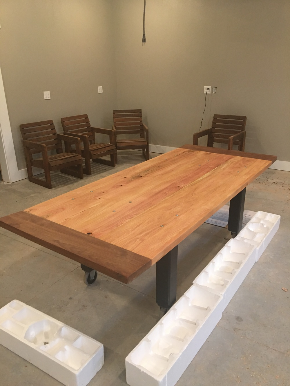 This homemade farm table will be the centerpiece for the farm-stand.