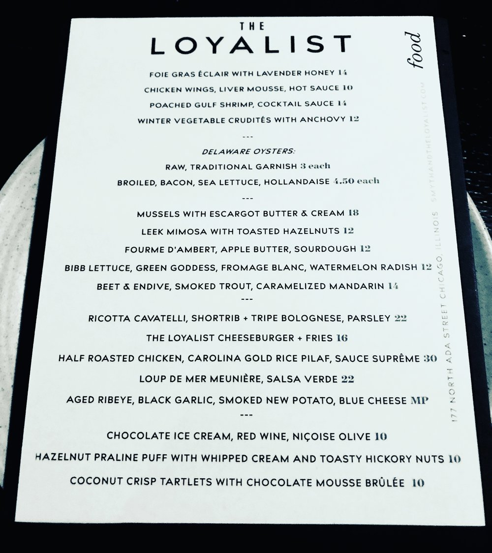 The fantastic menu at The Loyalist