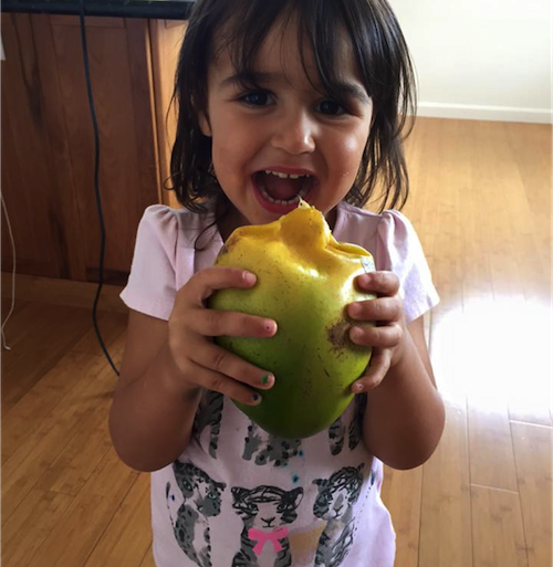 My youngest daughter, Ruby, eating a mango.