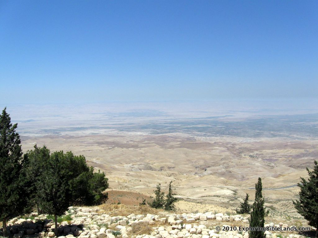 View looking west from Mount Nebo at the Plains of Moab across from Jericho.