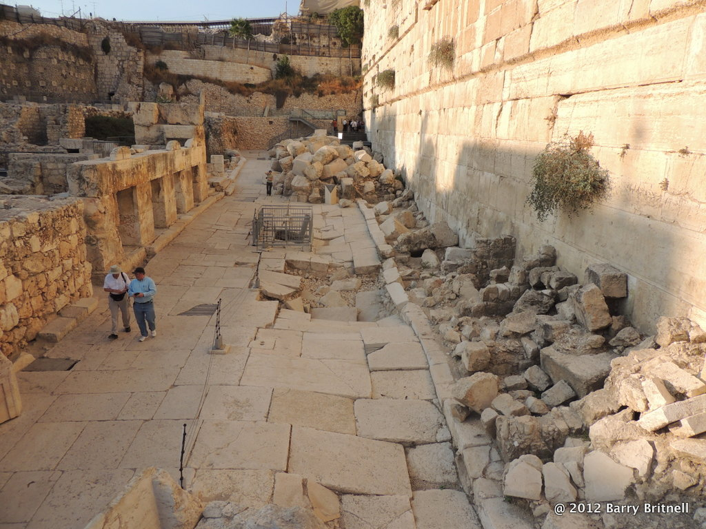 First Century street along the southwest corner of the Temple Mount.  Piles of rock from the destruction in 70AD  lay scattered along the road.