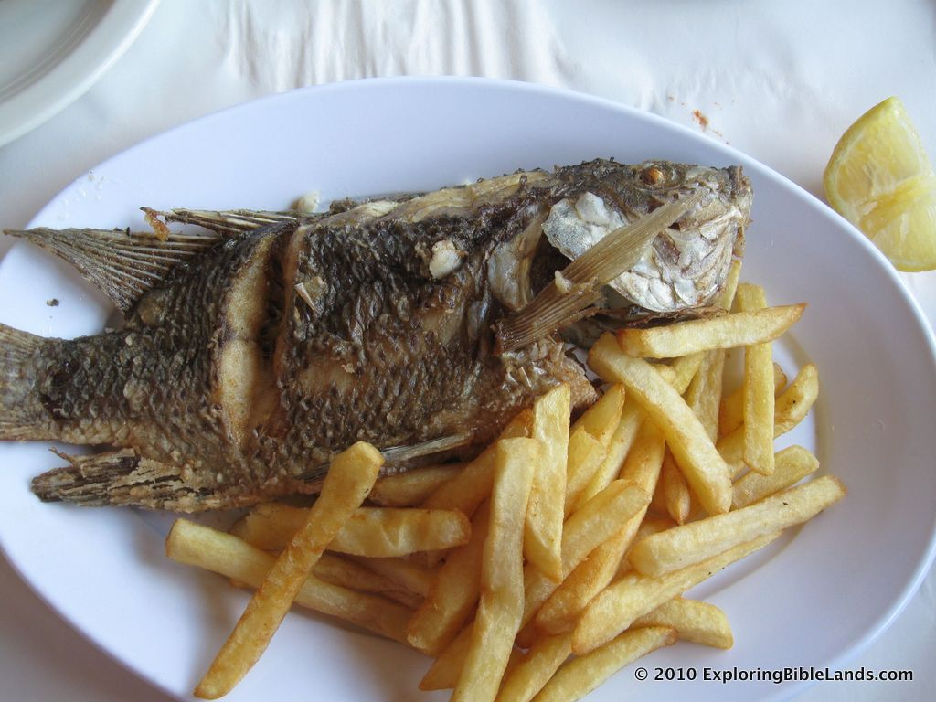 Tilapia, a common fish found in the Sea of Galilee, being served at a restaurant in Magdala.