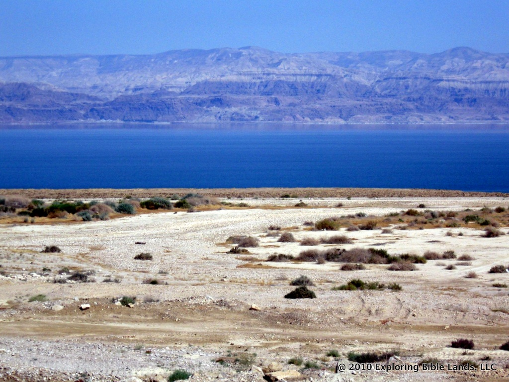 Looking east across the Dead Sea.  Just a few years ago, all of the land in the foreground was under water.