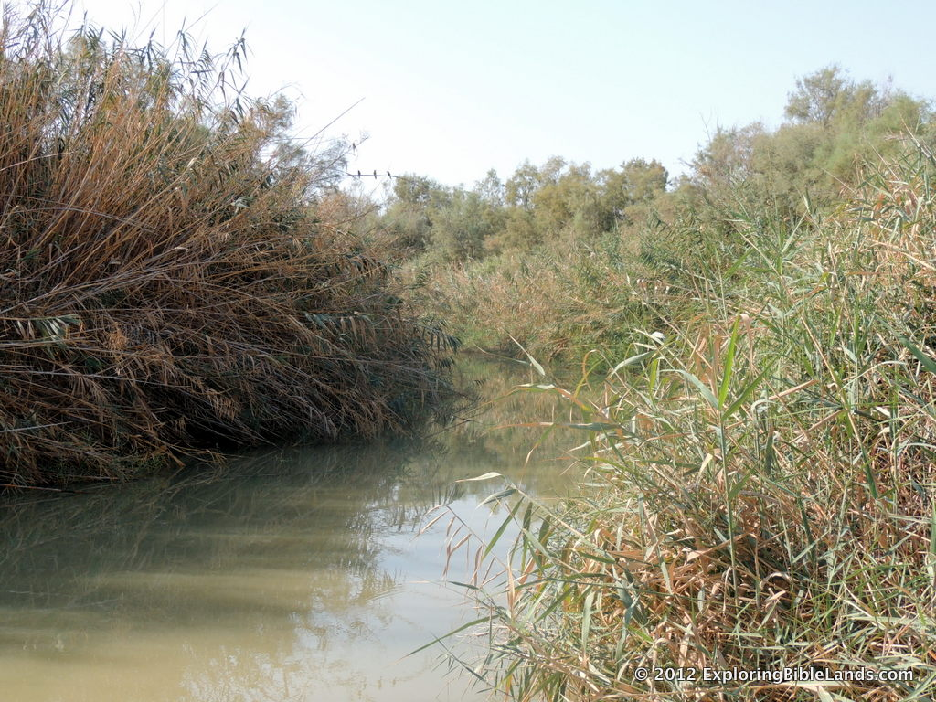 The Jordan River, just north of the where the river flows into the Dead Sea.