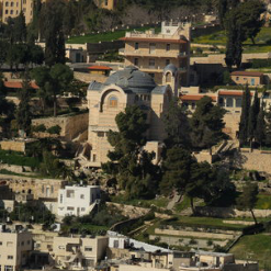 Zoomed in view of the Church of St. Peter in Gallicantu.