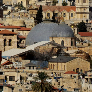 Zoomed in view of the Church of the Holy Sepulchre.