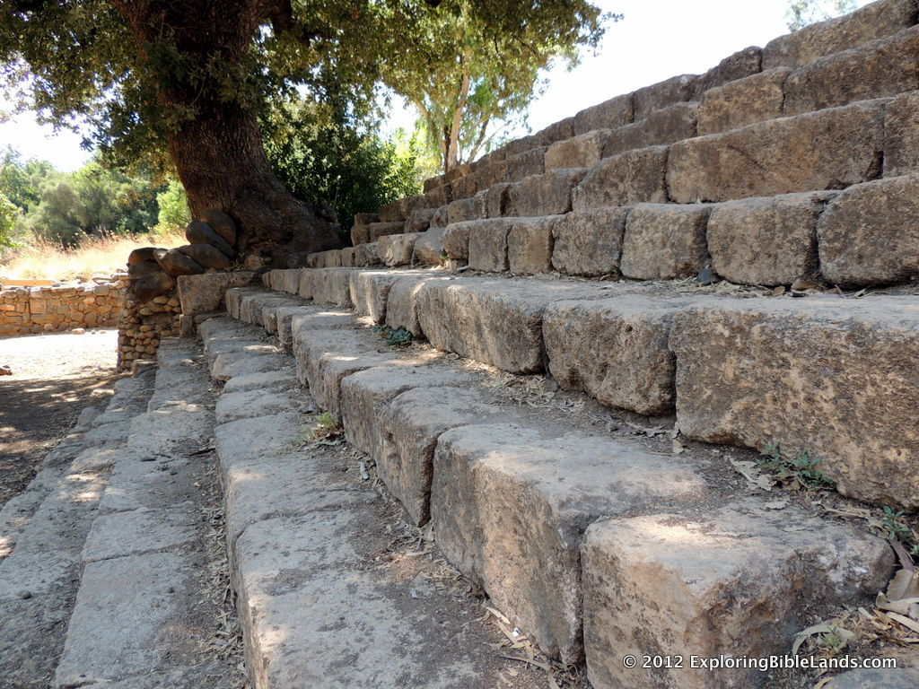 Steps leading to the High Place at Dan.  Jeroboam built this platform for worship to a golden calf during the period of the Divided Kingdom.