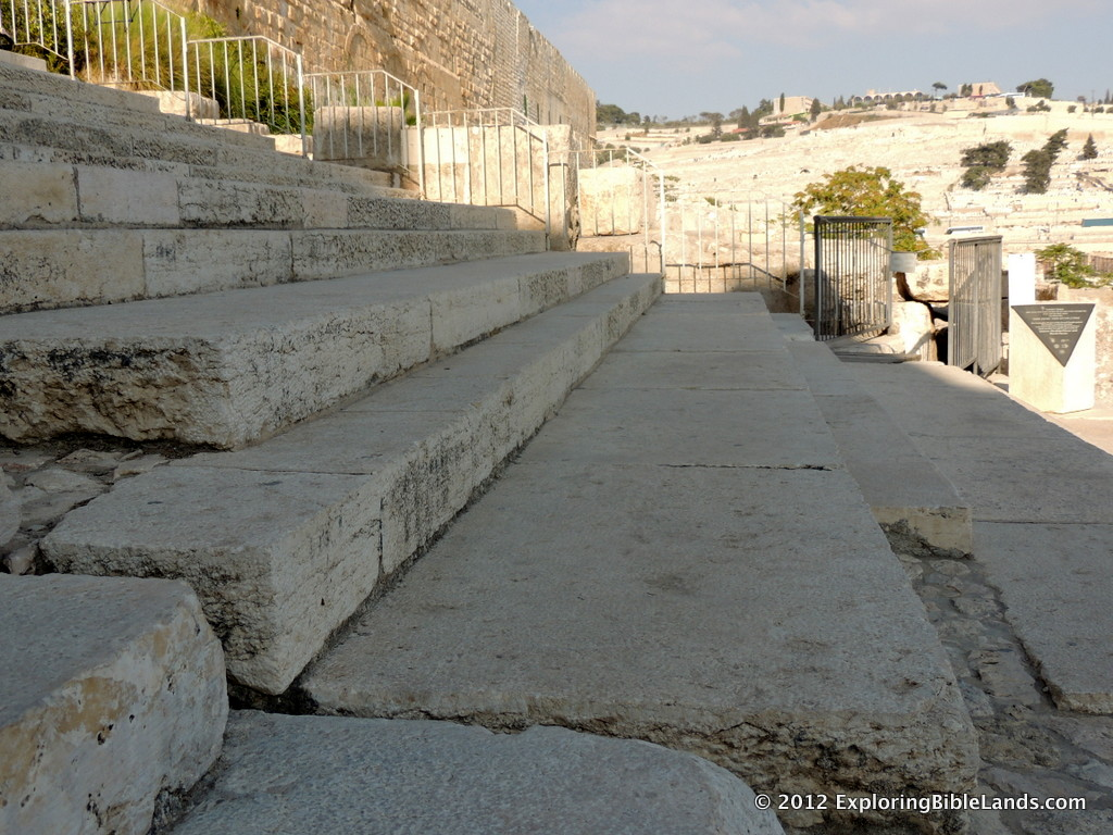 The steps on the southern end of the Temple Mount, with the Mount of Olives in the distance.