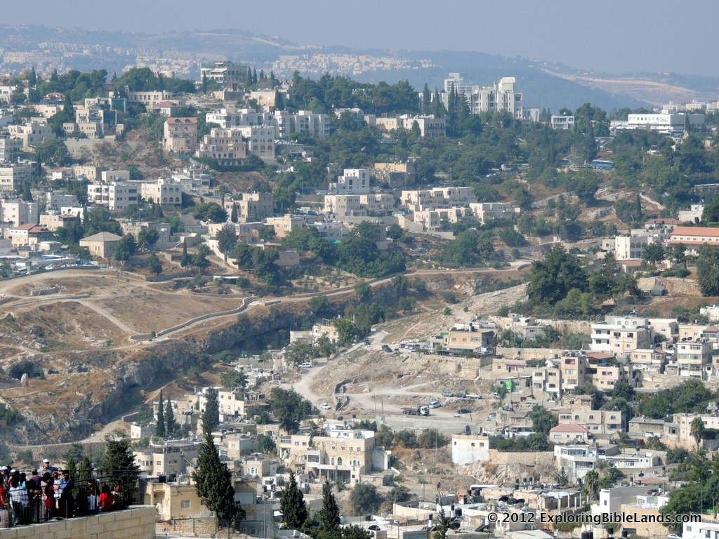 The Hinnom Valley from the top of the Mount of Olives.