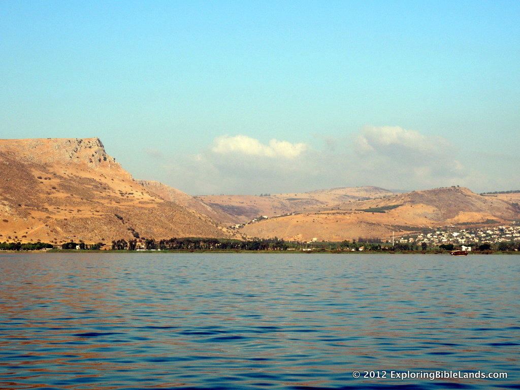 View of the Arbel Pass from the Sea of Galilee.