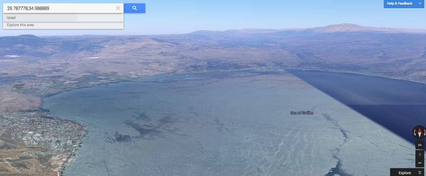 Google Earth image looking north across the Sea of Galilee.