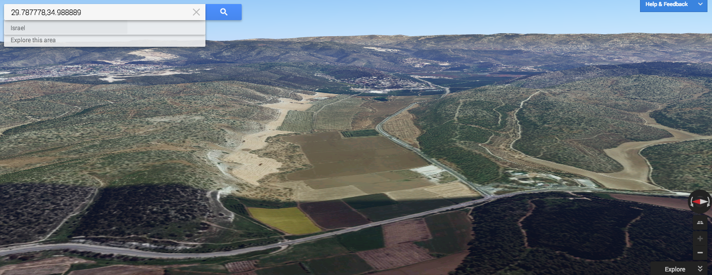 Google Earth image looking east down the Valley of Elah.