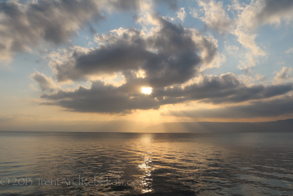 Sunrise over the Sea of Galilee.  Photo by Trent and Rebekah Dutton.