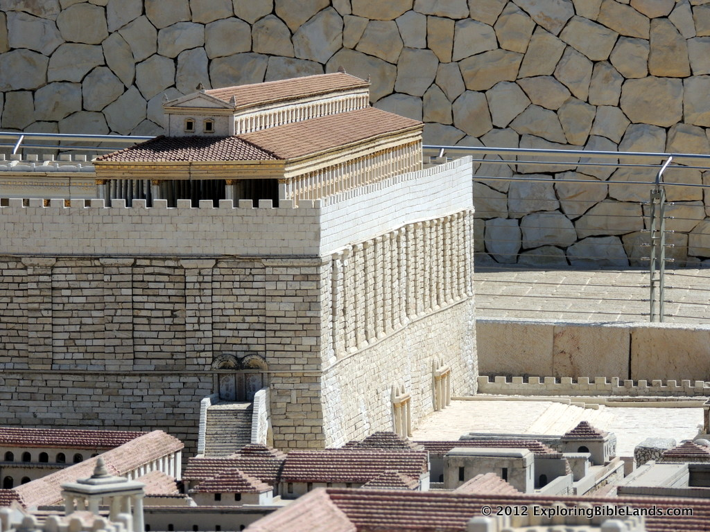 The southeast and southwest corners of the Temple Mount from the Jerusalem Model at the Israel Museum.