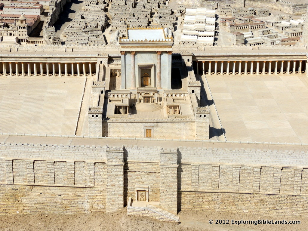 Jerusalem Model at the Israel Museum.  The Beautiful Gate (gold doors) is seen with Solomon's Porch being located on the inside of the eastern wall of the Temple Mount.