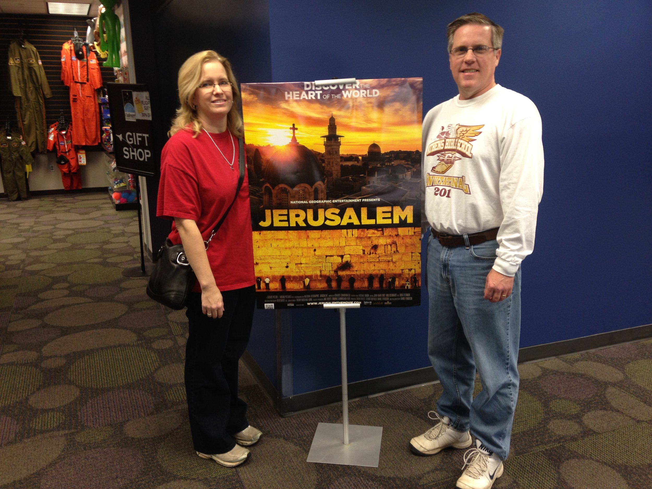 My wife, Tabatha, and I outside the theatre where Jerusalem was being shown.