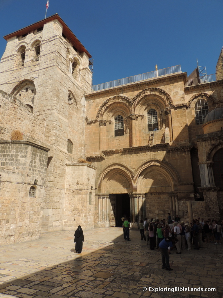 The Church of the Holy Sepulchre with the Immovable Ladder just below the second floor window.