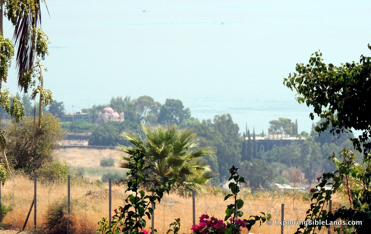 Capernaum, on the shore of the Sea of Galilee, as seen from the Mount of the Beatitudes.