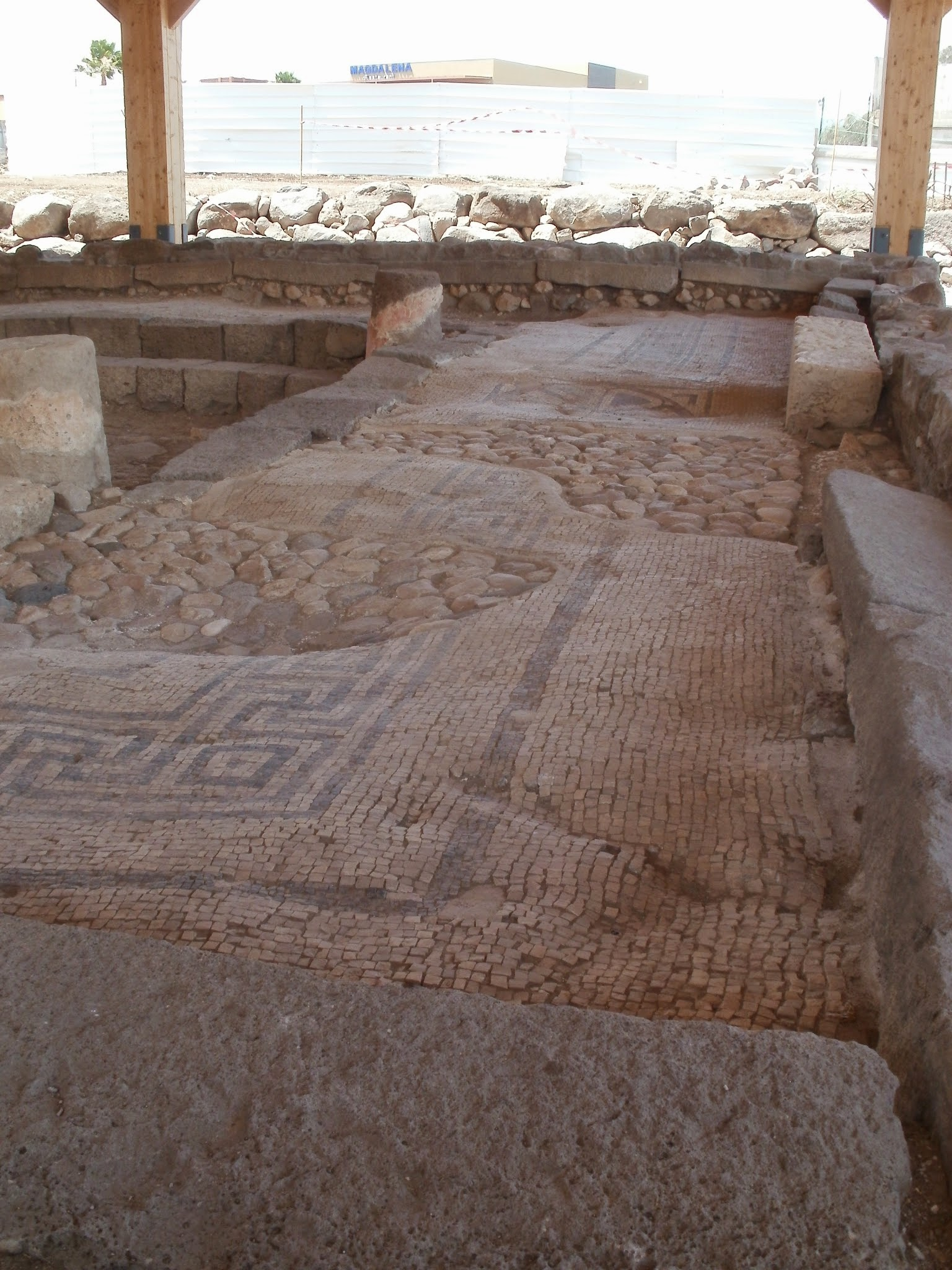 Original mosaic floors from the synagogue in Magdala.