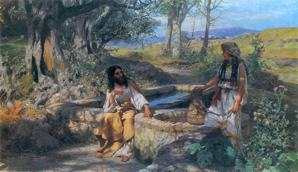 Drawing from the Israel Bible Center depicting Jesus speaking to the Samaritan woman at Jacob's Well.