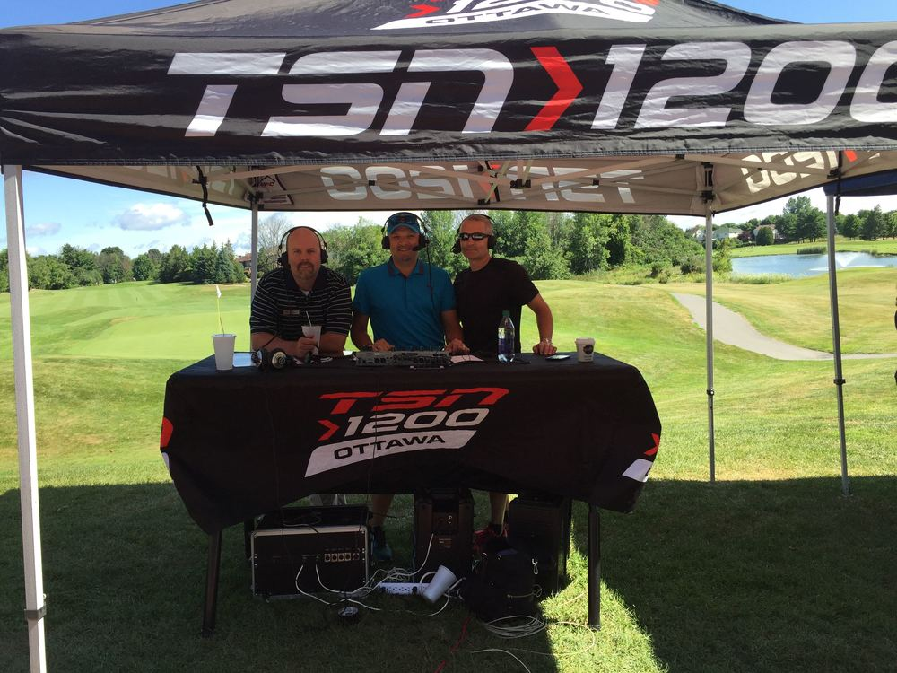 Kevin broadcasting Tee It Up on TSN 1200 live from the Kevin Haime Junior Masters.