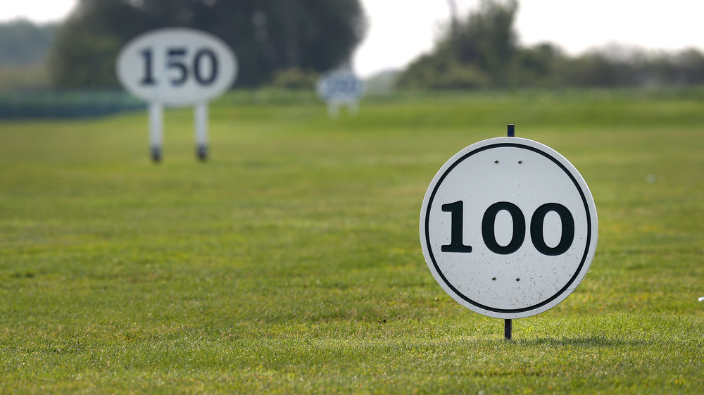 Laser measured distance markers for golf practice