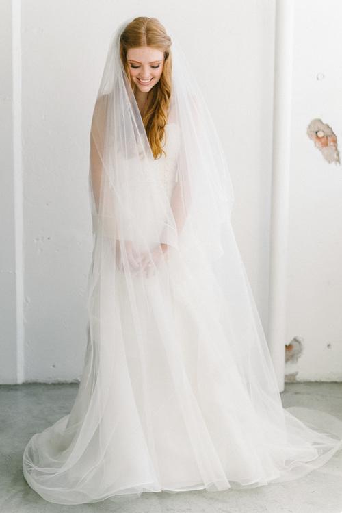 Long Crinoline Ribbon Veil Sara Gabriel Bridal Veils Horsehair