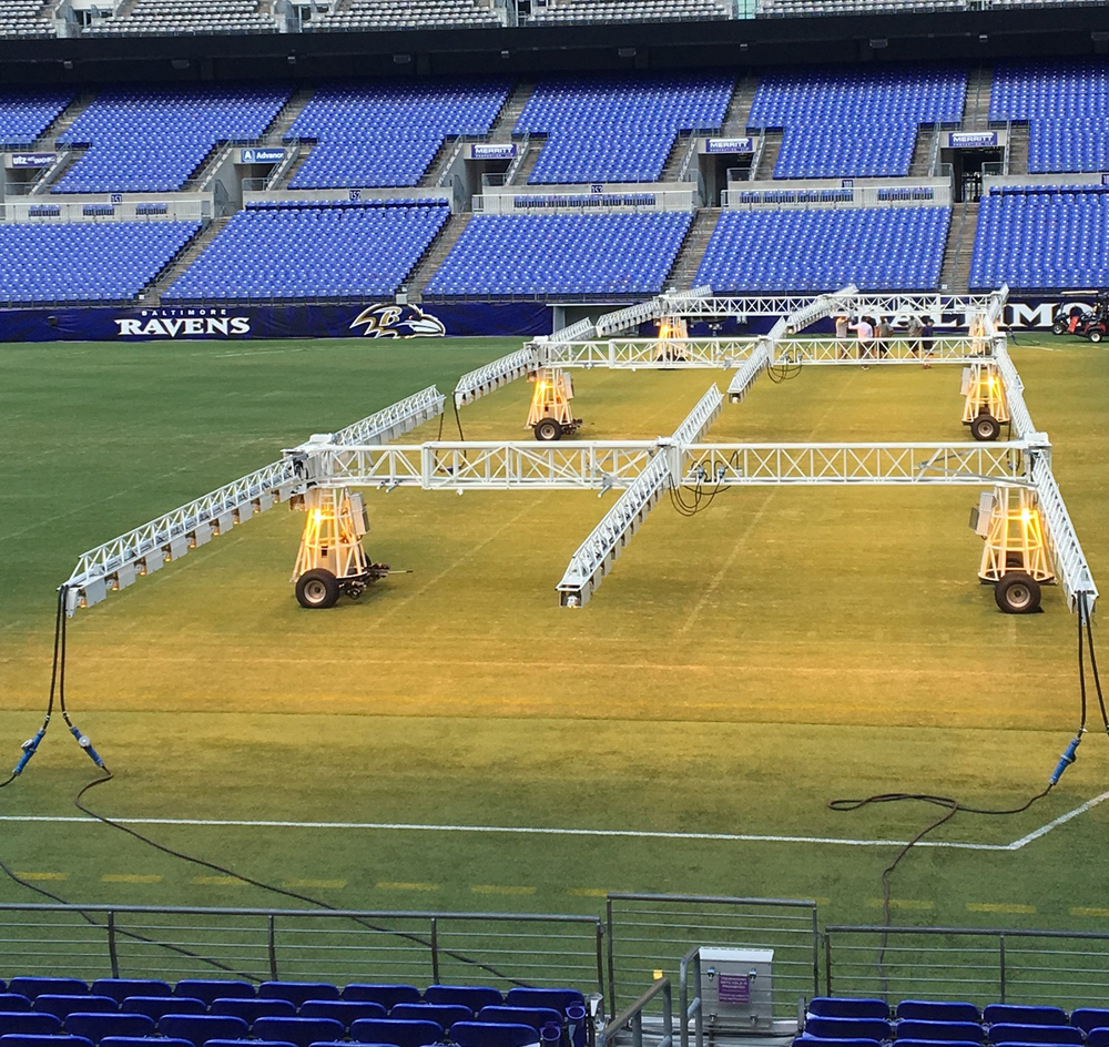 M&T Stadium grass growing light system all lit up!