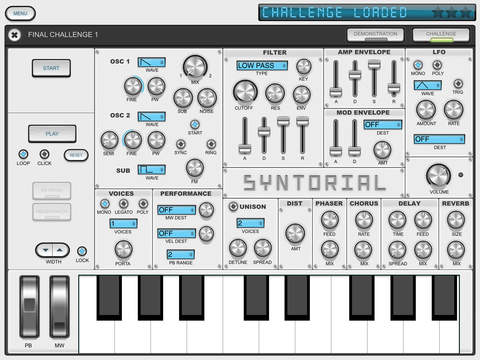 Syntorial is a synthesizer training app, that will teach you how to program synth patches by ear. By combining video demonstrations with interactive challenges, you'll get hands on experience programming patches on a built-in soft synth, and learn everything you need to know to start making your own sounds with ease. Visit Syntorial on the App Store.