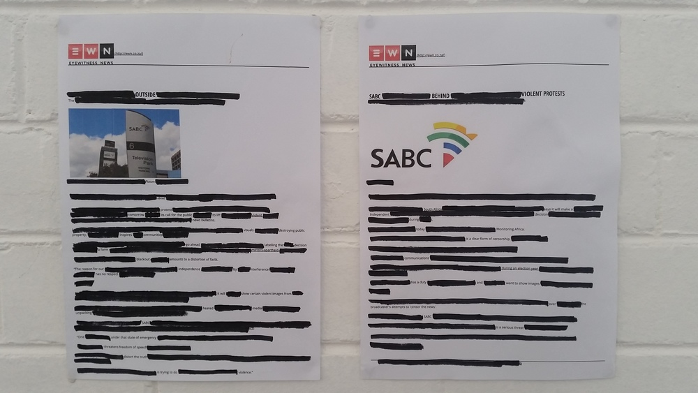 Blackout News BY Alicia Strydom Emergency: Censorship