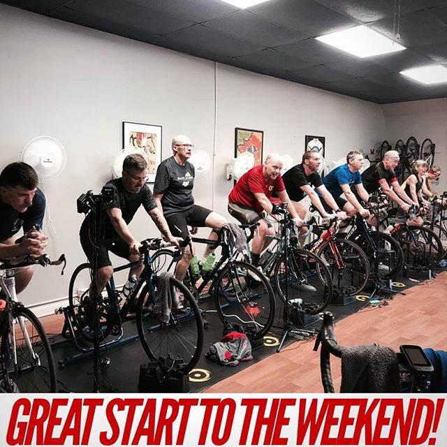 Great effort from these riders who brought their A-game to today's #breakthroughworkout . What's on your agenda for your #weekendworkout ? #rockandridewi #indoorcycling #rnrracing #weekendvibes #byob